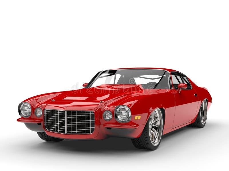 Scharlaken rode klassieke uitstekende Amerikaanse auto stock illustratie