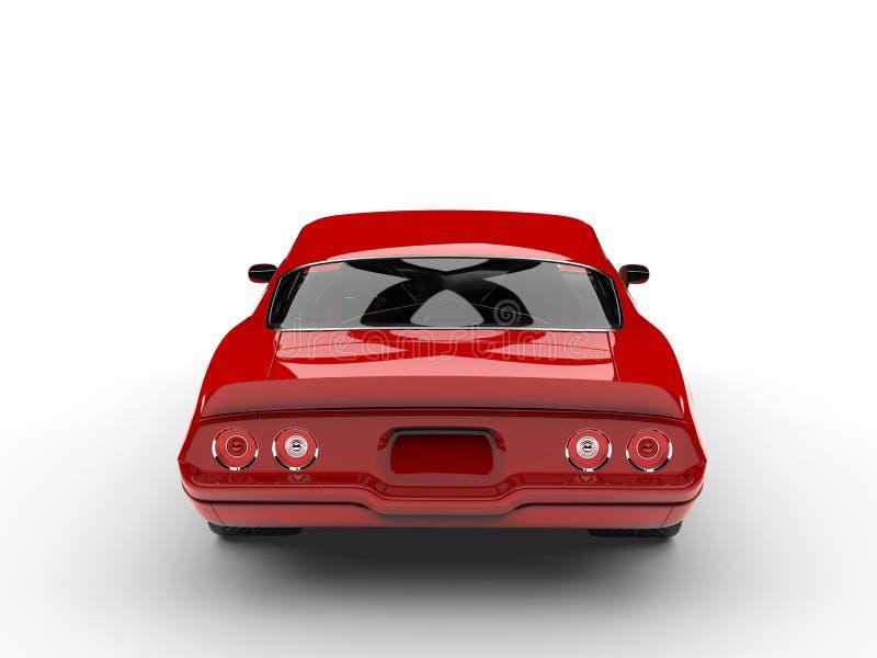 Scharlaken rode klassieke uitstekende Amerikaanse auto - achtermening royalty-vrije illustratie