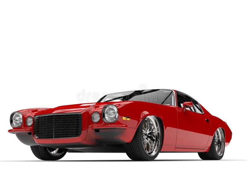 Scharlaken rode klassieke uitstekende Amerikaanse auto - het lage schot van de hoekschoonheid stock illustratie
