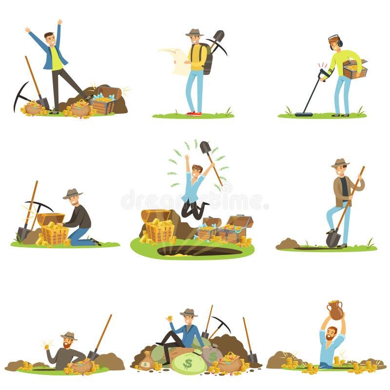 Schat de jacht, mensen op zoek naar schat Beeldverhaal gedetailleerde Illustraties vector illustratie