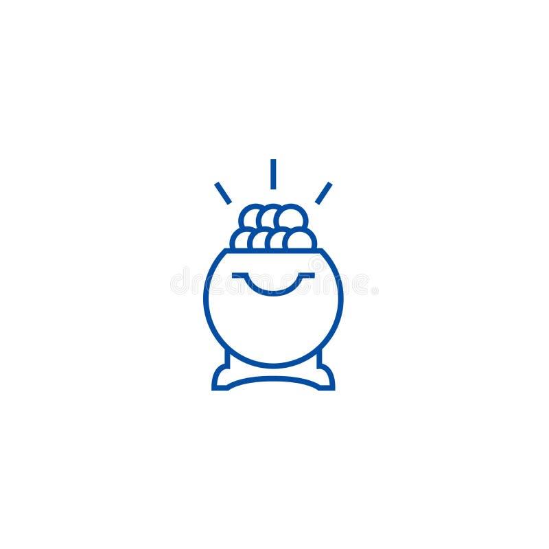 Schat, pot van het gouden concept van het lijnpictogram Schat, pot van gouden vlak vectorsymbool, teken, overzichtsillustratie vector illustratie