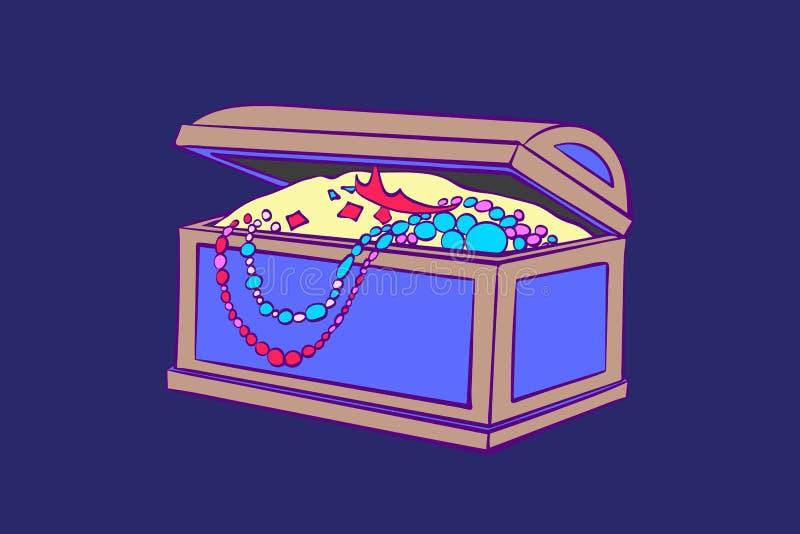Schatdoos voor opslag van juwelen Decoratieve kist met gouden muntstukken, halsbanden artoon vectordieillustratie ï ¿ ½ op blauw  vector illustratie