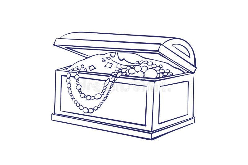 Schatdoos voor opslag van juwelenoverzicht Kist met gouden muntstukken, halsbanden ?artoon vector geïsoleerde illustratie vector illustratie