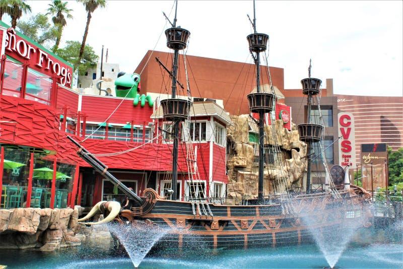 Schateiland, Piraatschip, Las Vegas, Nevada, Verenigde Staten stock afbeelding