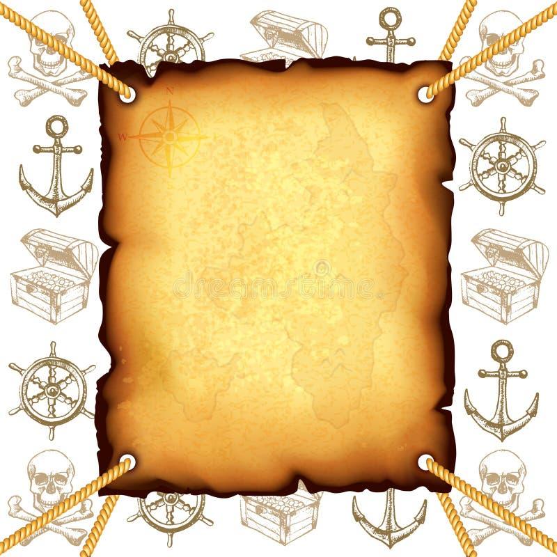 Schatkaart en de vectorachtergrond van piratensymbolen vector illustratie