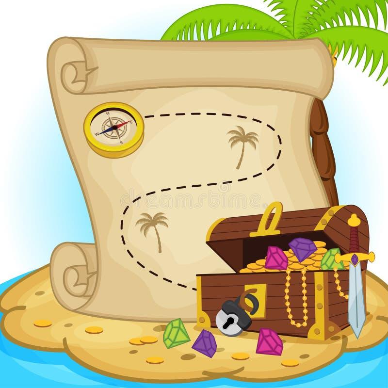 Schatkaart en schatborst op eiland