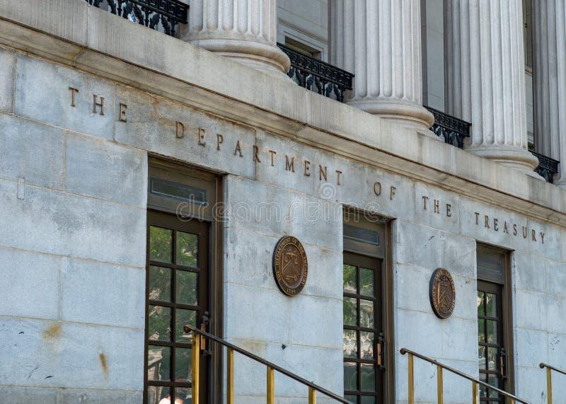 Schatkist de de Bouwingang, hoofdkwartier van Verenigde Staten vertrekt royalty-vrije stock fotografie