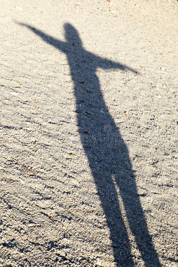 Schatten der Frau Yoga durchführend lizenzfreie stockfotos