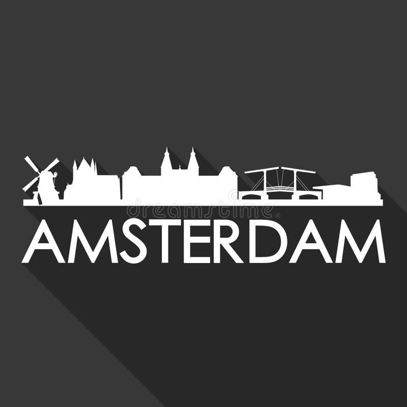 Schatten-Design-Skyline-Stadt-Schattenbild-Schwarz-Hintergrund Amsterdams niederländischer Europa Euro-Holland Icon Vector Art Fl stock abbildung