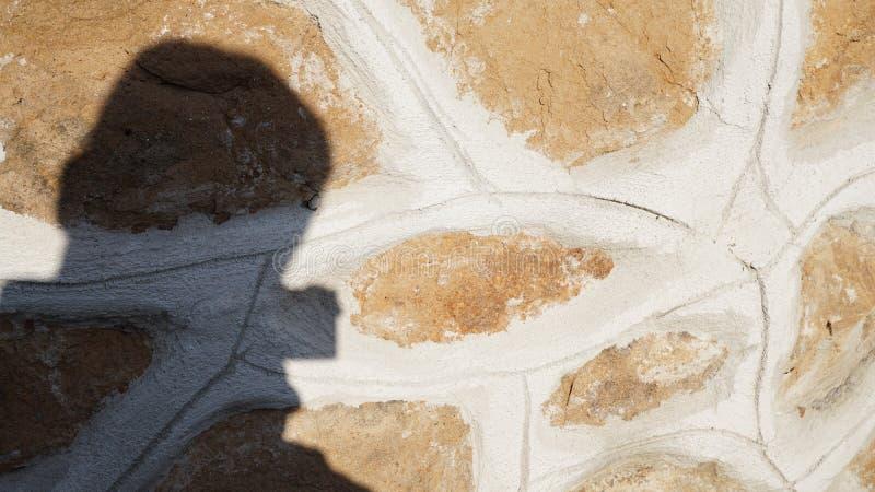 Schatten eines Fotografen projektierte auf einer Wand lizenzfreie stockfotografie