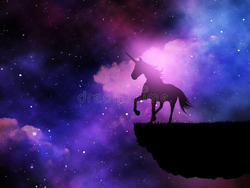 Schattenbild 3D eines Fantasieeinhorns gegen einen Raumnächtlichen himmel vektor abbildung