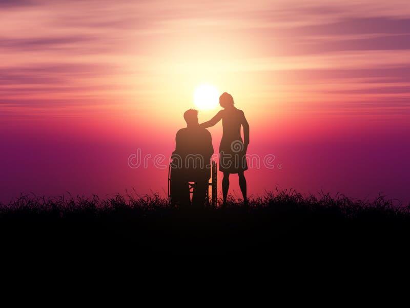 Schattenbild 3D eines Mannes in einem Rollstuhl mit einer Frau gegen eine Sonnenunterganglandschaft lizenzfreie abbildung