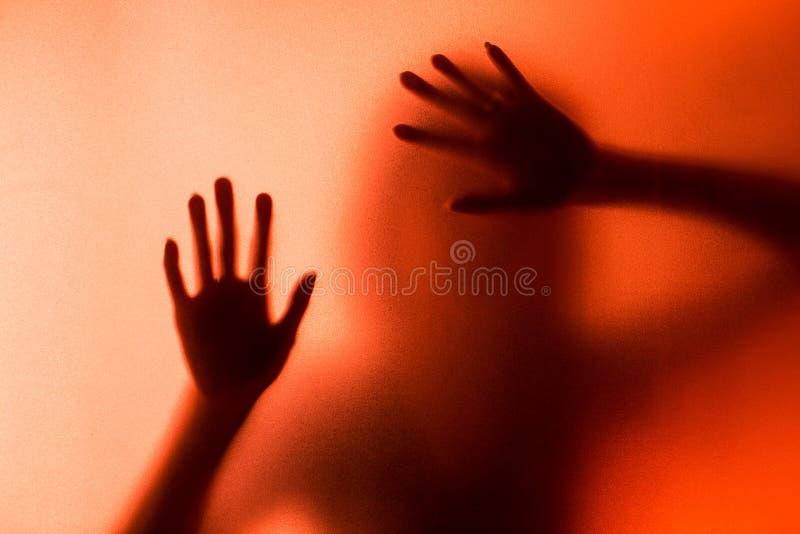 Schattenbild der Aktion des Frauenschreis stockfotos