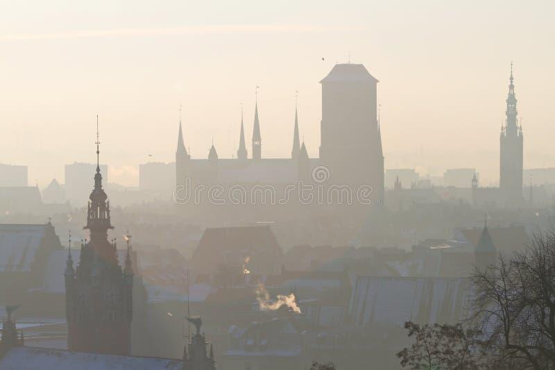 Schattenbild Der Alten Stadt In Gdansk Lizenzfreie Stockbilder