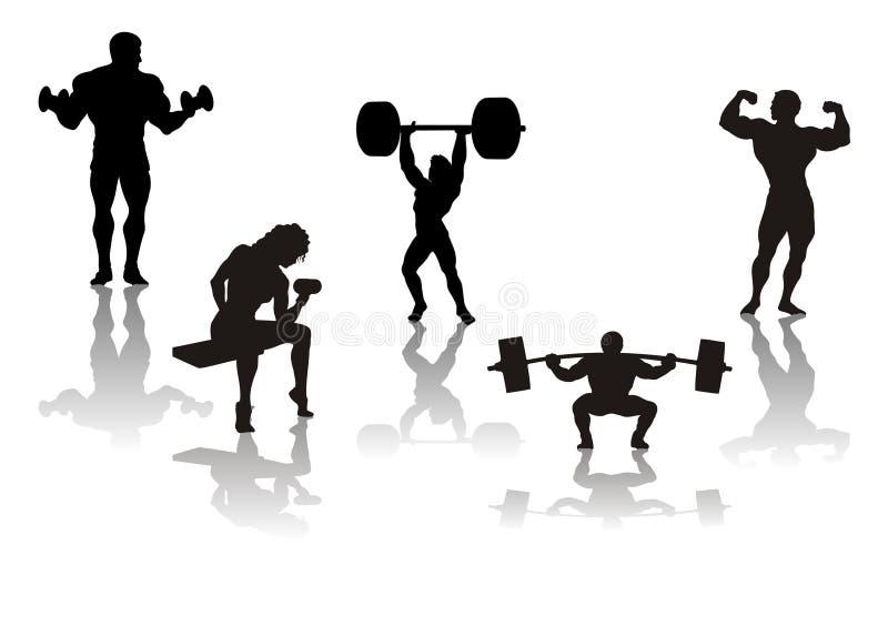 Schattenbild der Athleten, Vektor stock abbildung