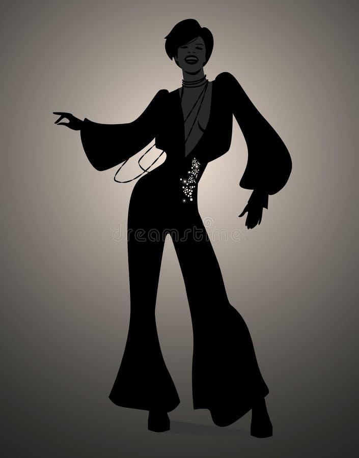 Schattenbild der flippiger oder der Disco des Mädchentanzens Musik der Seele, stock abbildung