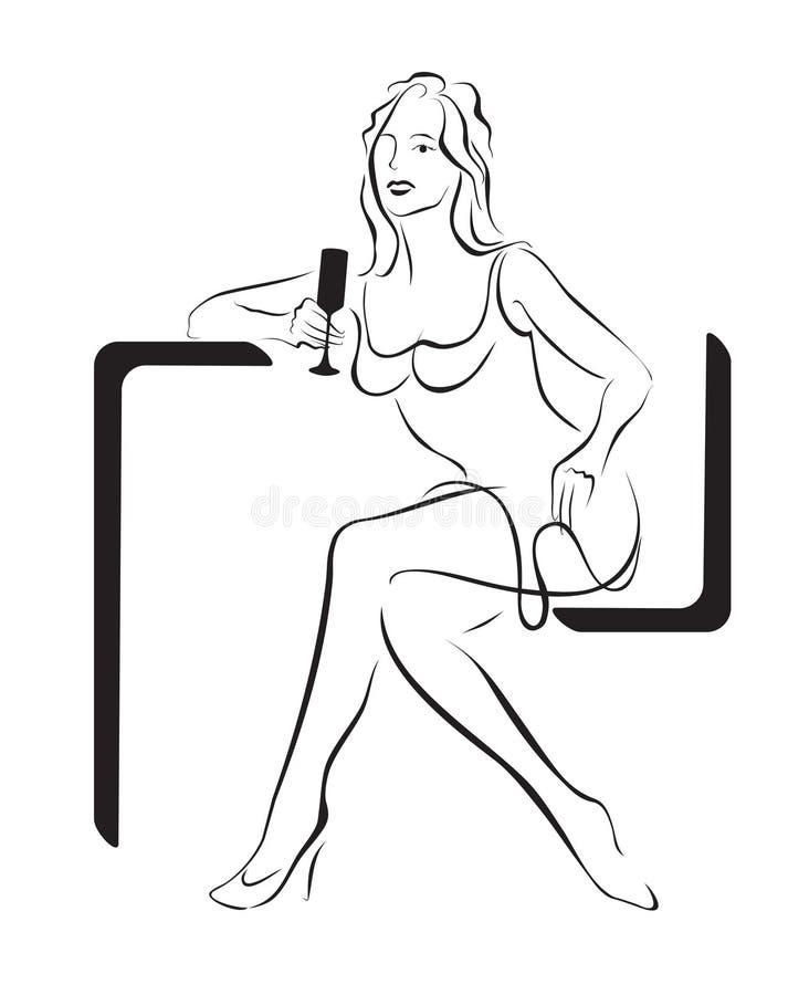 Schattenbild der Frau lizenzfreie abbildung