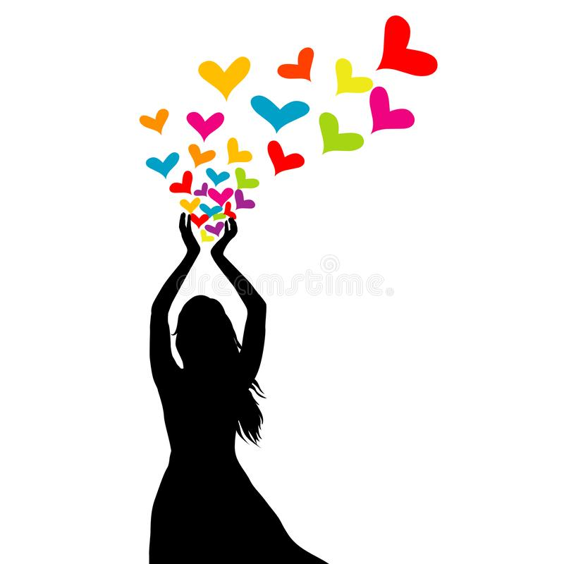 Schattenbild der Frau mit farbigen Herzen in ihren Händen stock abbildung
