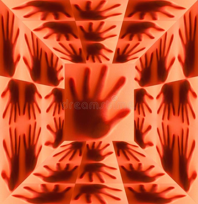 Schattenbild der Hand auf rotem Raum stockfotos
