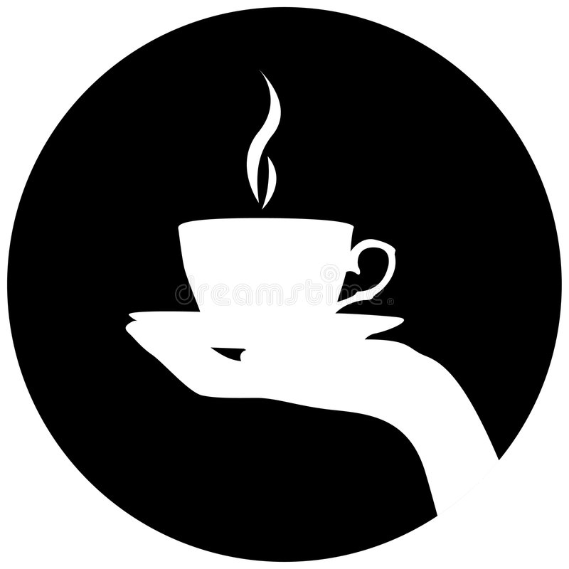 Schattenbild der Hand mit Tasse Kaffee/Tee lizenzfreie abbildung