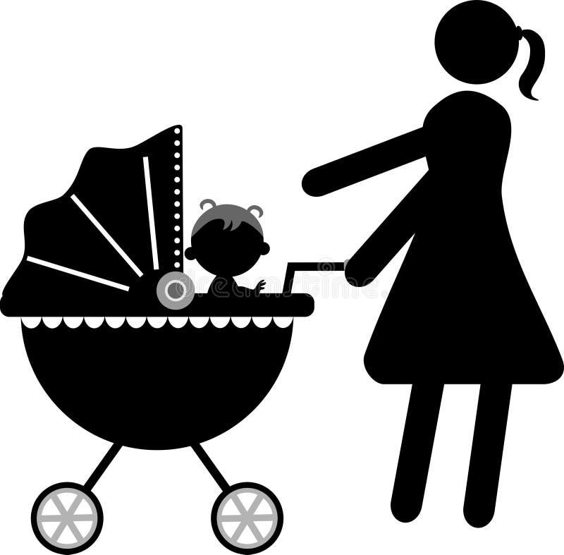 Schattenbild der jungen Mutter mit Baby auf Pram vektor abbildung
