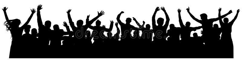 Schattenbild der Mengenfrohen naturen Froher Pöbel Glückliche Gruppe junge Leute, die an der musikalischen Partei, Konzert, Disco stock abbildung