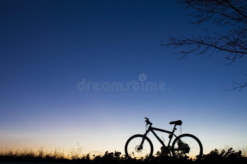 Schattenbild der Mountainbike an Sonnenuntergang nder Baum auf blauem Himmel stockfotos