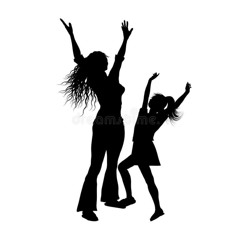 Schattenbild der Mutter und der Tochter mit den Armen angehoben in Freude lizenzfreie abbildung