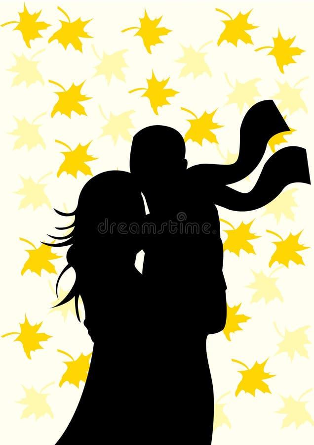 Schattenbild der Paare auf Herbsthintergrund vektor abbildung