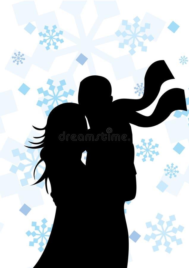 Schattenbild der Paare auf Winterhintergrund lizenzfreie abbildung