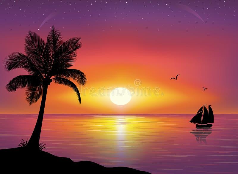 Schattenbild der Palme und der Lieferung. lizenzfreie abbildung