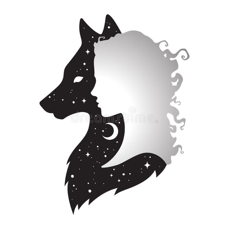 Schattenbild der Schönheit mit Schatten des Wolfs mit sichelförmigem Mond und den Sternen lokalisiert Aufkleber-, Druck- oder Tät vektor abbildung