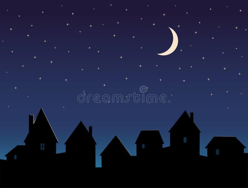 Schattenbild der Stadt und des nächtlichen Himmels mit den Sternen lizenzfreie abbildung