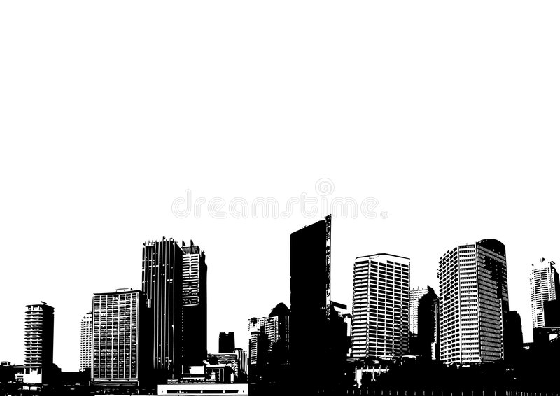 Schattenbild der Stadt. Vektor stock abbildung