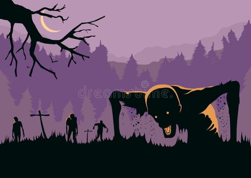 Schattenbild der Zombiehorde wieder belebt von den Toten vektor abbildung