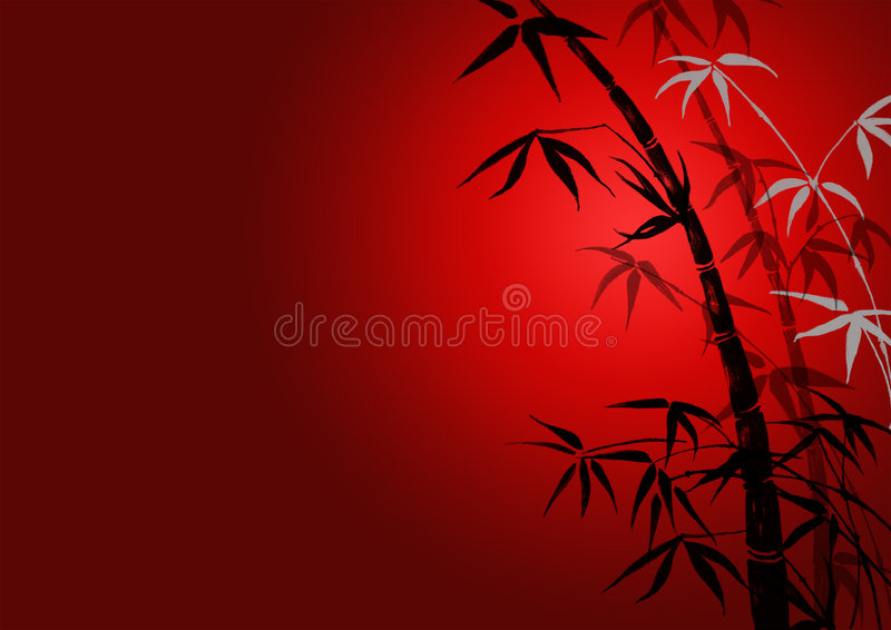 Schattenbild der Zweige eines Bambusses lizenzfreie abbildung