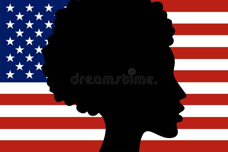 Schattenbild des afro-amerikanischen Mädchenkopfes mit Staatsflagge von den Vereinigten Staaten von Amerika auf dem Hintergrund F vektor abbildung