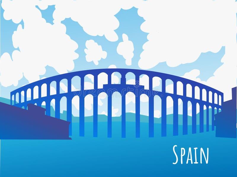 Schattenbild des Aquädukts von Segovia Spanien lizenzfreie abbildung