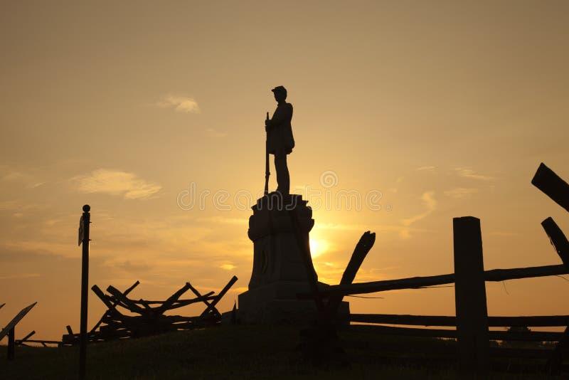 Schattenbild des Bürgerkriegmonuments am blutigen Weg, Antietam-Kampf stockbild