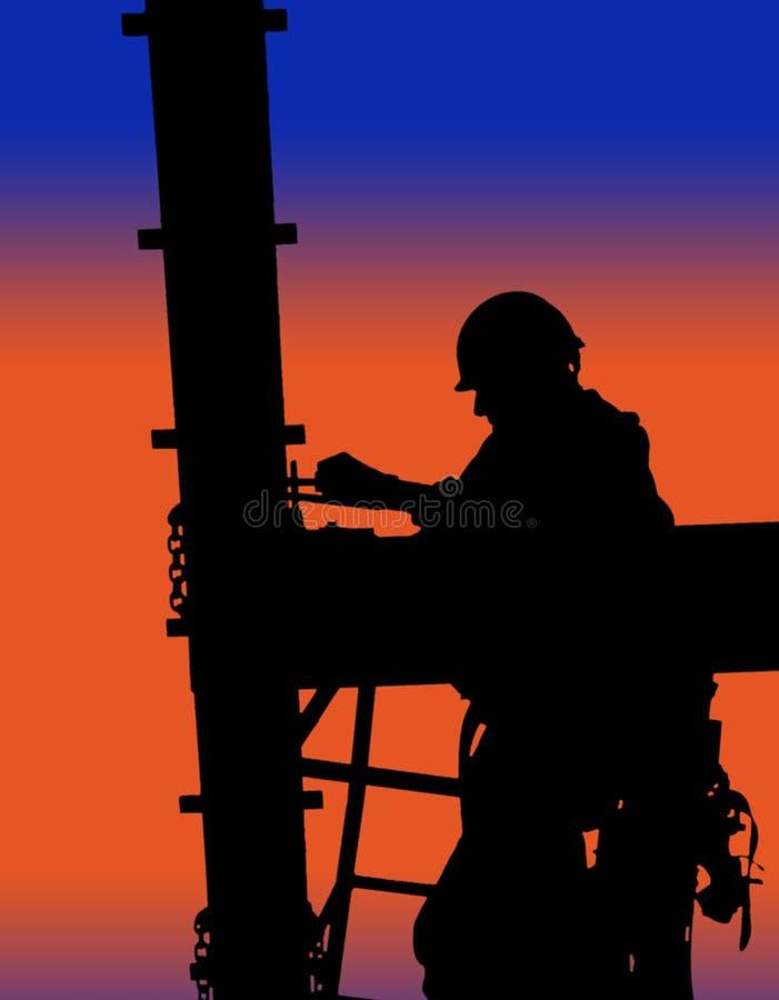 Schattenbild des Bauarbeiters stockbild