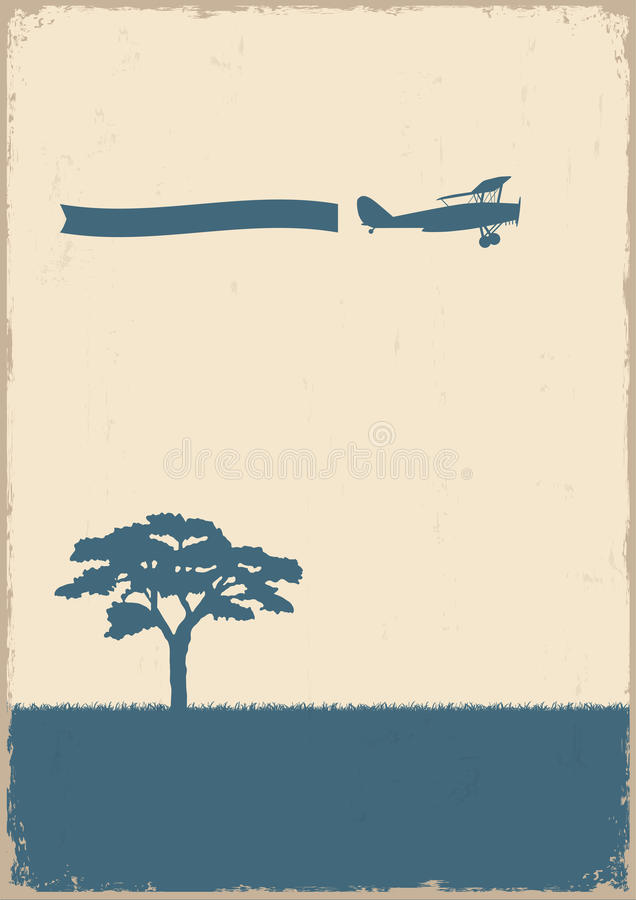 Schattenbild des Baums und des alten Flugzeuges auf grunge Papier stock abbildung