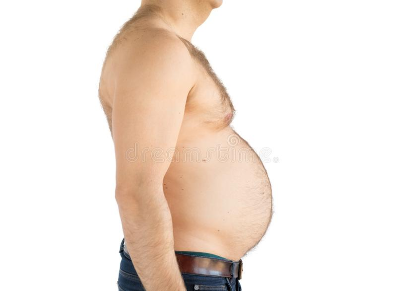 Schattenbild des beleibten ?berladenen Mannes mit dem fetten Bauch stockfotografie