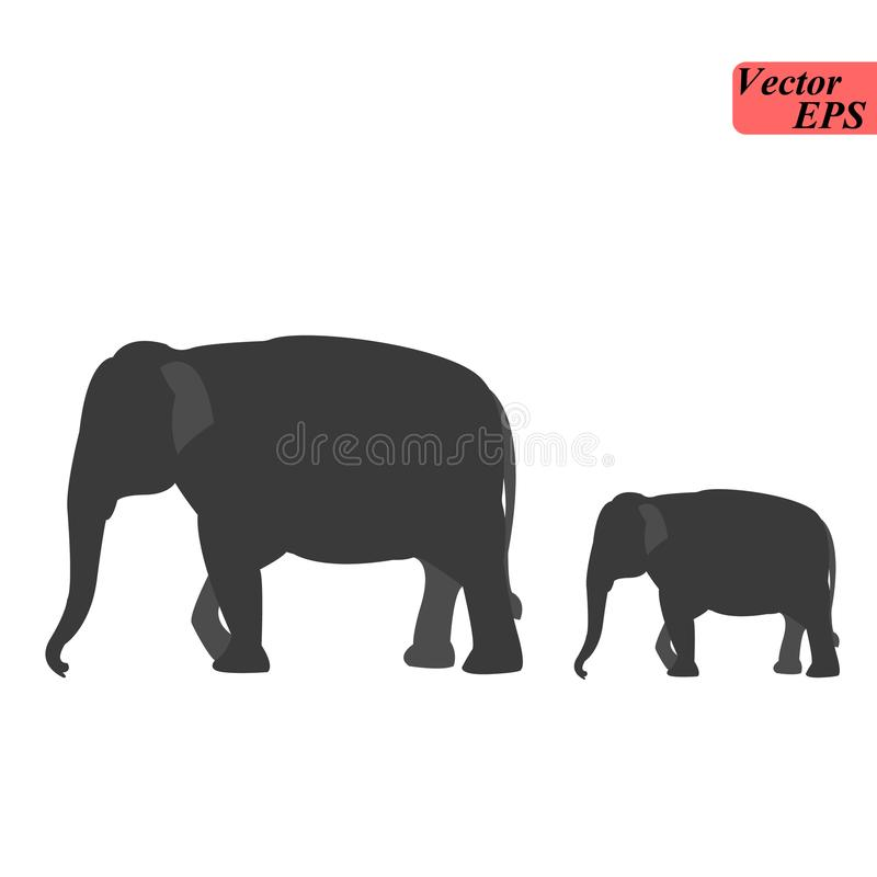 Schattenbild des Elefanten mit Babyelefanten Kuhelefant mit jungem Elefanten lizenzfreie stockbilder