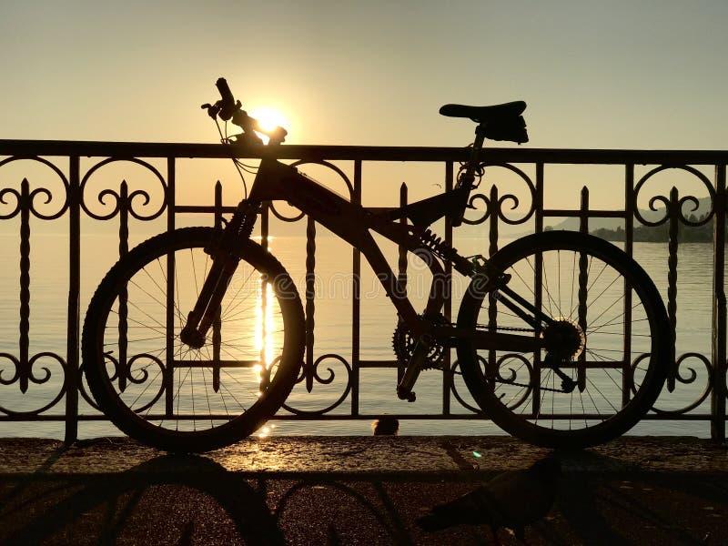 Schattenbild des Fahrrades stockfoto