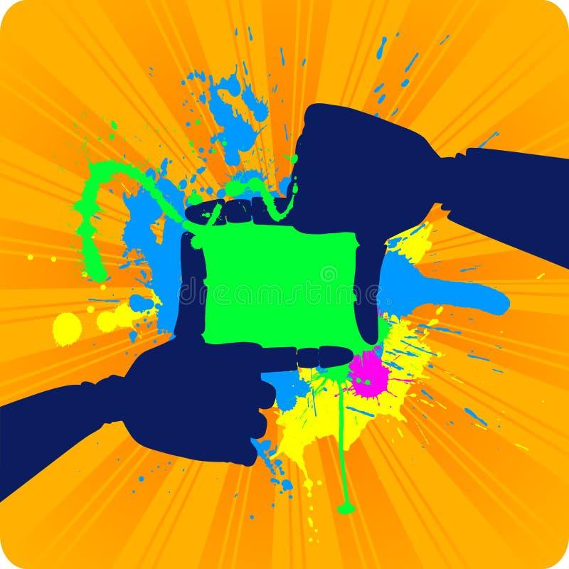Schattenbild des Feldes gebildet von den Roboterhänden.