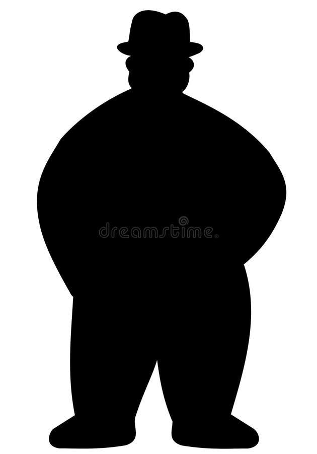 Schattenbild des fetten Mannes stock abbildung