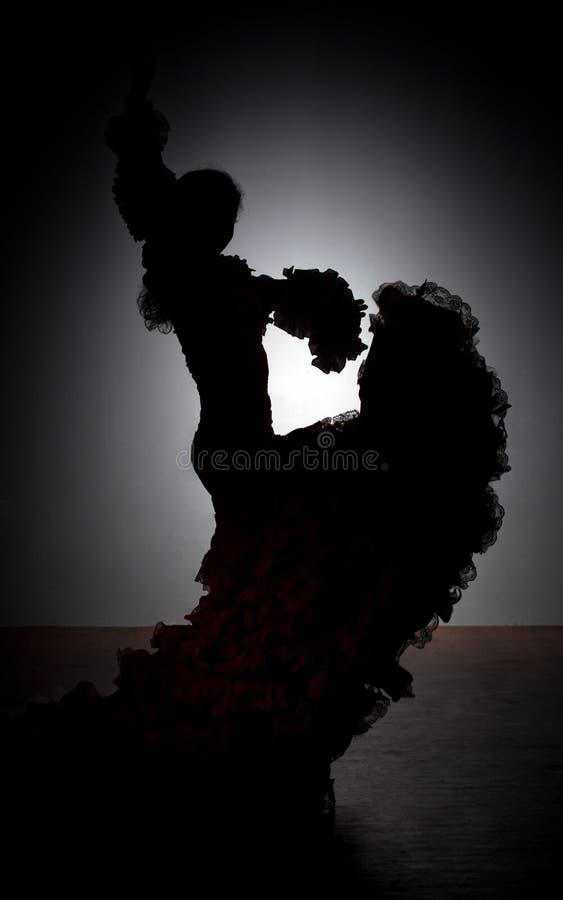 Schattenbild des Flamencotänzers lizenzfreie stockfotografie