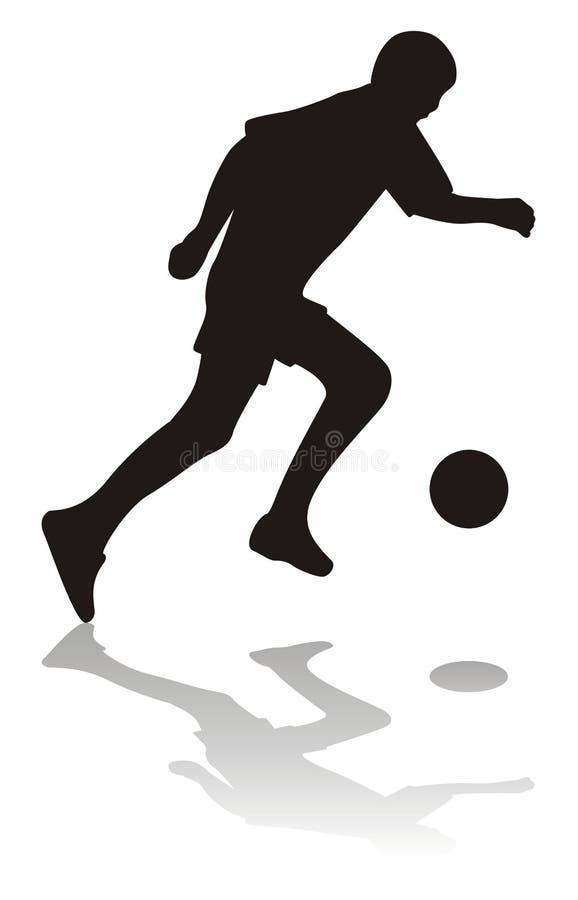Schattenbild des Fußballspielers vektor abbildung