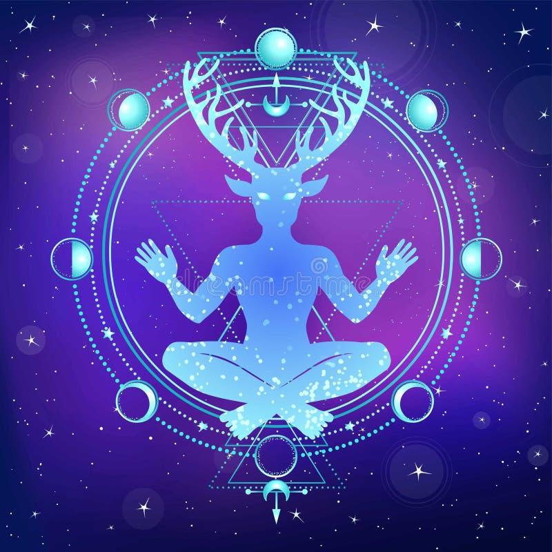 Schattenbild des gehörnten Gottes Cernunnos des Sitzens vektor abbildung