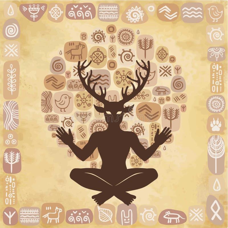Schattenbild des gehörnten Gottes Cernunnos des Sitzens Mystizismus, geheim, Heidentum, Okkultismus vektor abbildung